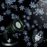 LED Projektor Weihnachtsbeleuchtung Fassadenstrahler mit mehreren sich bewegenden Schneeflocken-Motiven weiß Trafo Spotlicht Außen wasserdicht Weihnachtsdekoration