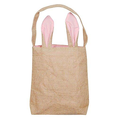 IPENNY Osterhasentasche, Multifunktions-Jutetasche, Osterkorb, Handtasche, Doppelschicht-Hasenohren Design, ideal zum Tragen von Eiern, Geschenken zu Ostern Rose