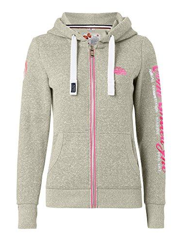 M.Conte Rachel Damen Hooded Sweater Sweat-Shirt-Jacke S M L XL Weiss Blau Grau Schwarz Pink Mit Kapuze Ice Grau S