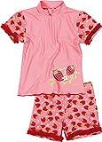 Playshoes Mädchen Bademode 2-teiliges Badeset Erdbeeren, bestehend aus Badeshirt und Badeshorts, Gr. 86 (Herstellergröße: 86/92), Rosa (original 900)