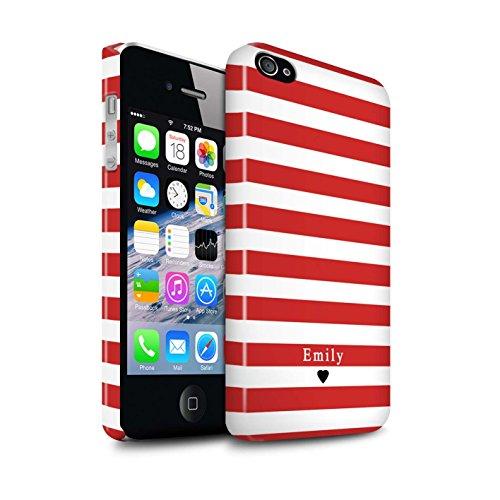 Personnalisé Rayures/Rayé Coutume Brillant Coque pour Apple iPhone 4/4S / Coeur Rayure Bleu Design / Initiales/Nom/Texte Etui/Housse/Case Clipser Coeur Rayé Rouge