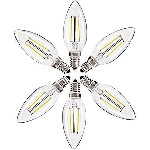 bontek® 6Lampadine Edison Filamento LED 2Watt–equivalente 20Watt Bianco Caldo–attacco E142700K, non dimmerabile