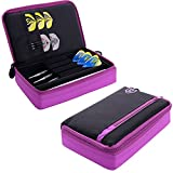One80 Large D Box - Dart Case with Zip Compartments - Black with Purple - With Darts Corner Curvy Ballpen