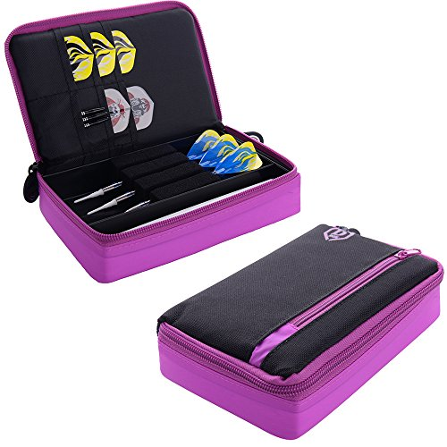One80-Large-D-Box-Dart-Case-with-Zip-Compartments-Black-with-Purple-With-Darts-Corner-Curvy-Ballpen