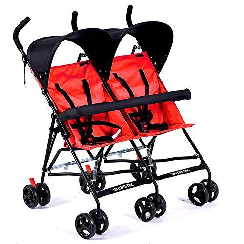 Sunzy Doppelkinderwagen, Vier Jahreszeiten Abnehmbarer Faltbarer Stoßdämpfer Zwillingskinderwagen geeignet für Neugeborene -