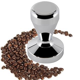 ZNYSTAR Espresso Kaffee Tamper Edelstahl Kaffee Sabotage Maschine Bohne Barista Espresso Druck Sabotage Edelstahl Basis (51mm, Silber)