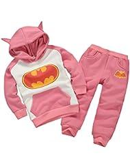 OMSMY Baby Jungen Mädchen Batman Kleidung Säugling Kinder Langarm Schlafanzüge Set Batman Samt Kleidung Cartoon Suit 1-6Jahre