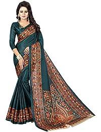 JENCY FASHION Kalamkari 3 Silk Saree With Blouse (RAMA)