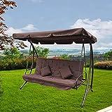 FP-TECH - Balancín de jardín de 3 plazas con Techo Parasol para sofá, Cama, Columpio reclinable