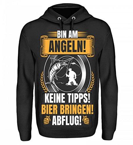 Hochwertiger Unisex Hoodie - Bin am Angeln Bier Bringen! Abflug! - F (Hoodie Angeln)