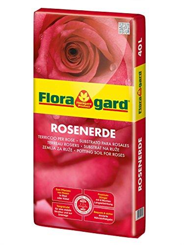 Floragard Rosenerde 40 L • Spezialerde für Kübelrosen, Kletterrosen, Beetrosen • zum Pflanzen im Beet und im Kübel • mit dem Naturdünger Guano
