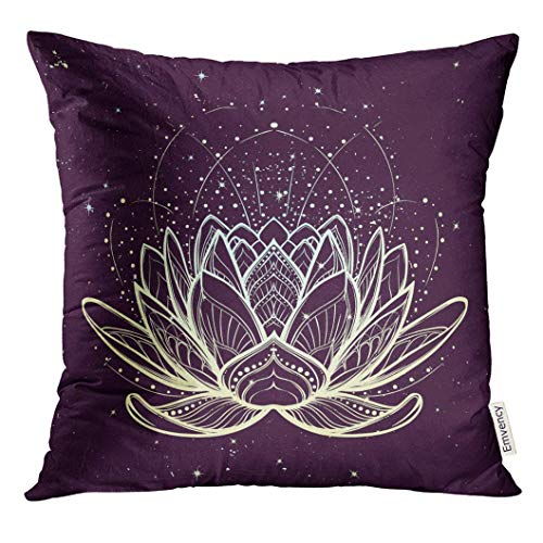 Ntpclsuits Throw Pillow Cover Lotus Flower Intricate Linear Drawing on Starry Nignt Sky for Hindu Yoga and Spiritual Designs Tattoo Decorative Pillow Case Home Decor Square 18x18 Inches Pillowcase