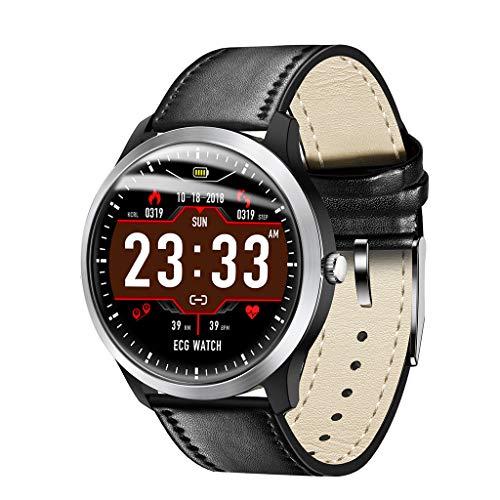 OSYARD Smartwatch mit Schrittzähler Stoppuhr Schlafüberwachung,Leder Uhrenarmbänder Sportuhr Smart Watches Fitness Tracker Armbanduhr für Herren Damen Sport Uhren Kompatible Android und iOS Telefone