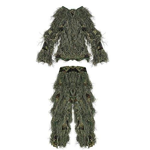 Pellor Jagd Polyester Kinder 3D Tarnanzug Ghillie Anzug Dschungel Woodland Camouflage Kleidung Taille Verstellbar (Camo) (Camo-jagd-kleidung)