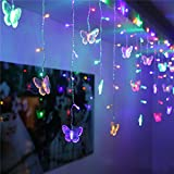 SHHE Fairy Lights 1.5M x 0.5M 48 LED Butterfly Curtain Lights String 230V UK Plug 8 Modes Indoor Outdoor Use for Party Wedding Christmas Holiday Decoration Lighting(Colored)