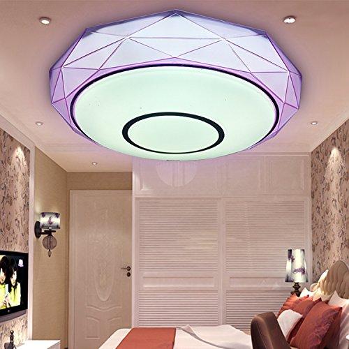 LEDMLSH Diamant Form Led Schlafzimmer Licht Kreativ Einfache moderne Decke Lampe Persönlichkeit Gang Lichter Runde warme romantische Wohnzimmer Lichter (Farbe : Lila) -