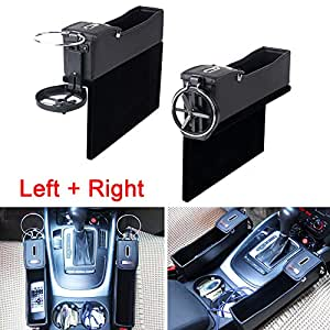 triclicks multifunktion schwarz pu leder autositz seiten schlitz taschen auto catcher organizer. Black Bedroom Furniture Sets. Home Design Ideas
