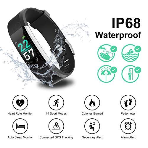 Imagen de pulsera de actividad inteligentepant reloj deportivo monitor de ritmo cardíaco ip68 impermeable,pulsometro podometro con contador de pasos 14 modos de deporte regalos originales para hombre alternativa