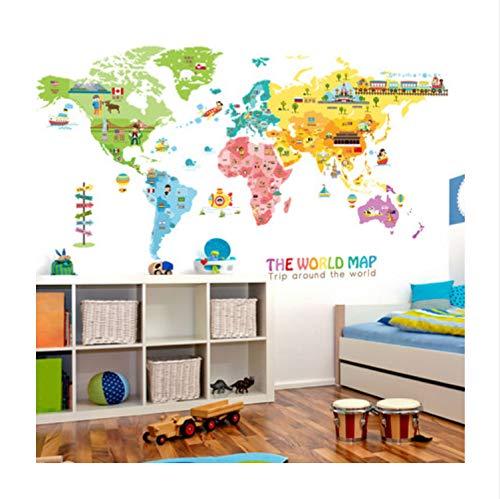 ekoration Vinyl Wandaufkleber Diy Weltkarte Kinderzimmer Poster 95 * 195 Cm ()