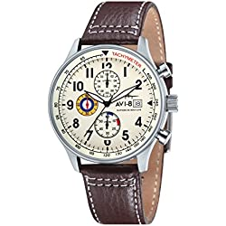 AVI-8 Men's Hawker Hurricane Quartz Watch with Beige Dial Chronograph Display and Brown Leather Strap AV-4011-04