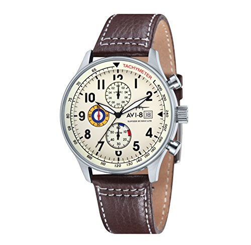 avi-8-mens-hawker-hurricane-quartz-watch-with-beige-dial-chronograph-display-and-brown-leather-strap