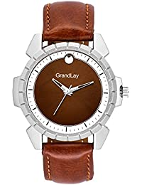 Grandlay mg-3074 brown dial with brown strap authentic watch for menz