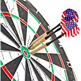 Cable World® 18-Inch Wood And Metal Champion Tournament Double Sided Flocking Dartboard With 6 Darts