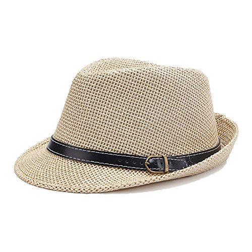 Chapeau Trilby Panama De Paille Homme Garçons Soleil Kaki