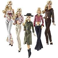 Lance Home Ropa para Barbie, 5 Conjuntos Moda Abrigo de otoño Vestidos Pantalones Zapatos Sombrero