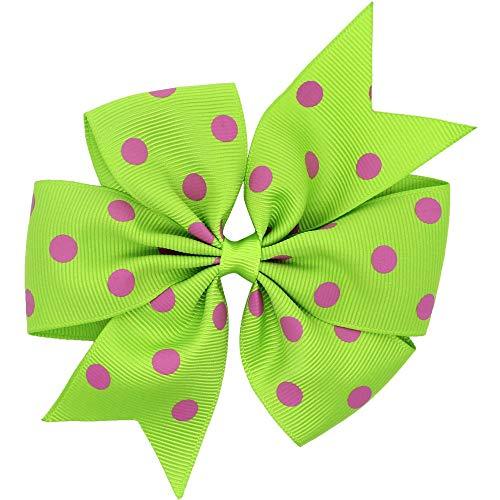 FERZA Home Polka Dots Hair Ribbon Bows Mädchen/Kinder Hairbows Boutique Haarschleife mit Krokodilklemmen Haarnadeln (Color : Green) -