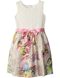 Us Angels Little Girls' Dress Folied Dot Bodice with Butterfly Print Brocade Skirt