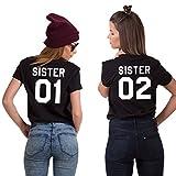 Best Friends T-Shirts für 2 Mädchen Sister Aufdruck - Sommer Oberteile Set für Zwei Damen - Beste Freunde Freundin Geburtstagsgeschenk (Schwarz + Schwarz, 01-XS + 02-XS)