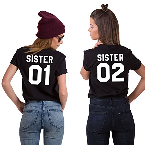 Couples Shop Best Friends Passende Paar T-Shirt – Damen Sister Kurzarm mit Lustige Aufdruck – Zwei Mädchen Sommer Tops 1 Stücke (Schwarz - 01, L) (Stricken Für Sachen Kinder)