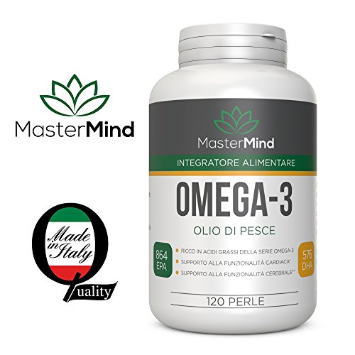 Omega 3 - MasterMind Italy - 120 Geloperle - 2.200 MG - ULTRA EPA 864mg + DHA 576mg (2 perle) - Integratore di Olio di Pesce -  #1 Omega-3 in Italia, - Certificato in laboratorio - Supporto...