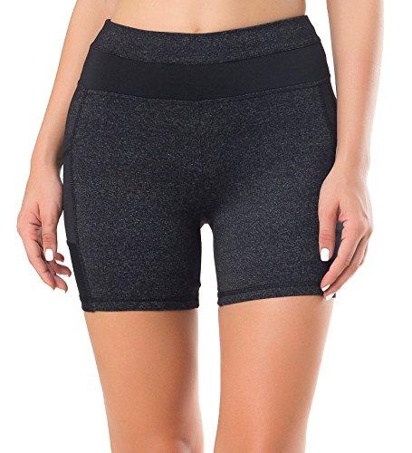 Sudawave Damen Mesh Radlerhose Kurze Leggings Yogahose Sporthose Shorts mit Taschen für Fitness Grau
