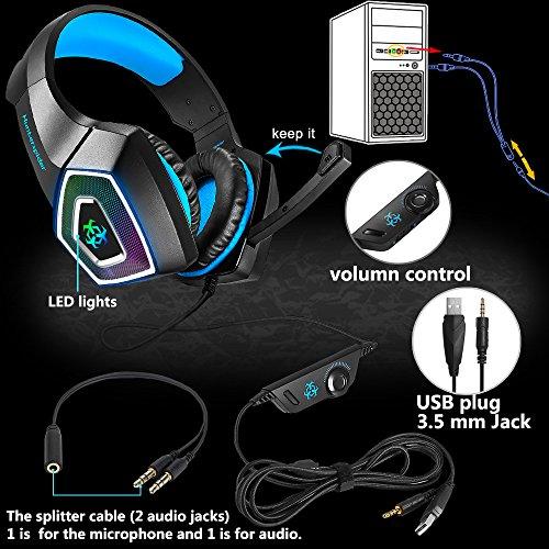 Gaming Headset für PS4 Xbox One PC,Stereo Sound Gaming Kopfhörer mit Mikrofon für Laptop Mac Tablet (Blau) - 6