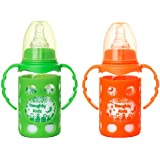 Naughty Kidz Premium Borosilicate Handy Glass Bottle With Ultrasoft LSR Nipple||Silicone Bottle Warmer||Easy To Hold Handle||Key TEETHER||Hood RETAINING Cap And Sealing DISC Ring (Green+Orange)
