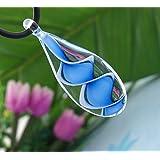 Ecloud Shop® 5X Lágrima Murano Lampwork pendientes de la moda collar de cordón