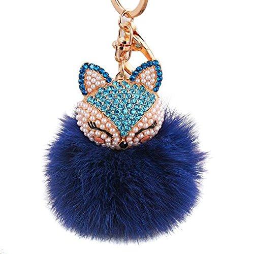 Maolanku Donna Ragazza Pelliccia Di coniglio artificiale Volpe Palla Con Fox Testa Intarsio Perla DI Portachiavi (Blu Scuro)