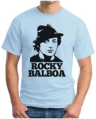 OM3 - ROCKY BALBOA FACE - T-Shirt BOXER 70s 80s The ITALIEN STALLION USA, S - 5XL Hellblau