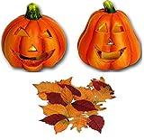 Herbst Set 26-teilig 2x Kürbis mit LED Beleuchtung aus Keramik + 24 Deko - Blätter Herbst