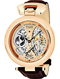Stuhrling Original Special Reserve Emperor's Grandeur Men's Automatic Watch with Multicolour Dial Analogue Display and Brown Leather Strap 127A.334553