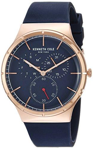 Kenneth Cole New York–Orologio in acciaio INOX e silicone casual da uomo, colore: Blu (Model: KC50057001)