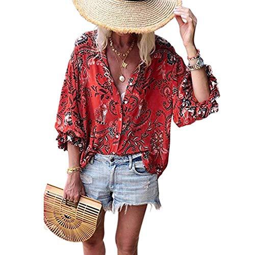 Damen Sommer Mode Spitze 3/4 Halbhülse Solide Tops Sexy Kausalen V-Ausschnitt Druck Postleitzahl Bluse Shirts (M, Rot) - Perlen Lange Ärmel T-shirt