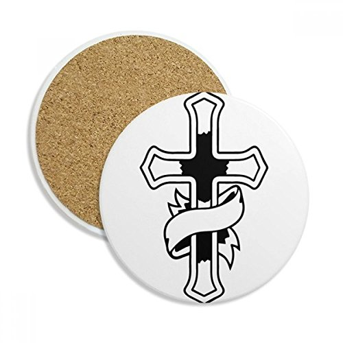 (DIYthinker Religion Christentum Kirche Glaube Stein Getränk Keramik-Untersetzer für Becher-Schalen-Geschenk 2pcs Schwarz)