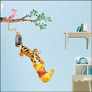 Méga Grande Winnie l'Ourson et Tigrou Peel & Enfants bâton chambre Autocollants muraux sticker art (Feuille de taille: 24 pouces x 36 pouces) avec un MicroDeal® Piece chiffon de nettoyage marques par ordre
