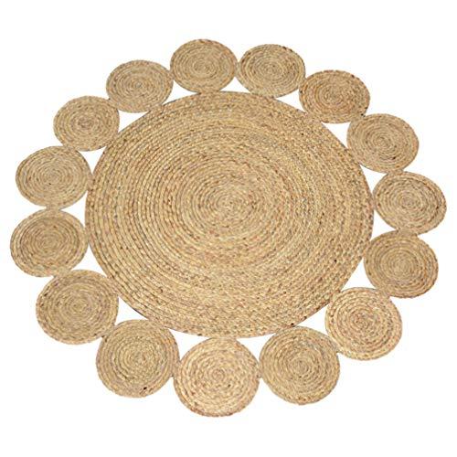 AMON LL Handgemachte natürliche Jute runden Teppich, aushöhlen gewebte Teppich Bodenmatte für Wohnzimmer Schlafzimmer Dekor,A,120 * 120cm -