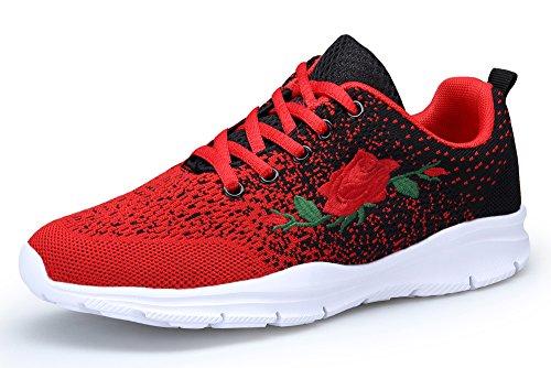 KOUDYEN Damen Laufschuhe Atmungsaktiv Turnschuhe Schnürer Sportschuhe Sneaker,XZ746-W-redblack-EU41