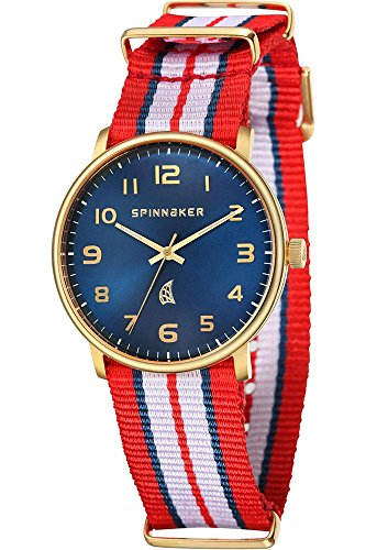Spinnaker Nantucket Unisex Quartz Watch with Blue Dial Display on Blue, White and Red Dual Colour Nylon Nato Strap  SP-5026-07