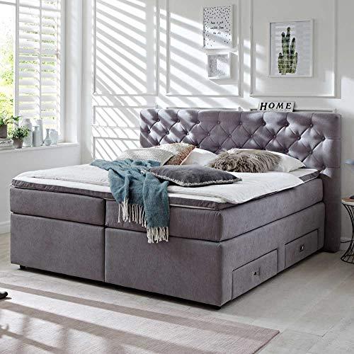 Pharao24 Boxspring Bett aus Webstoff Grau 180x200 cm